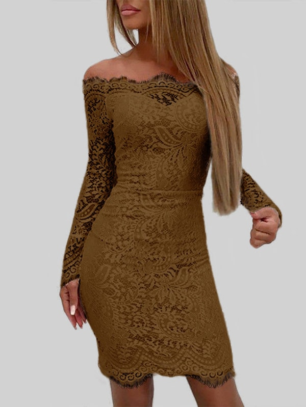 Coffee Lace Details Off The Shoulder Long Sleeves Bodycon Dress