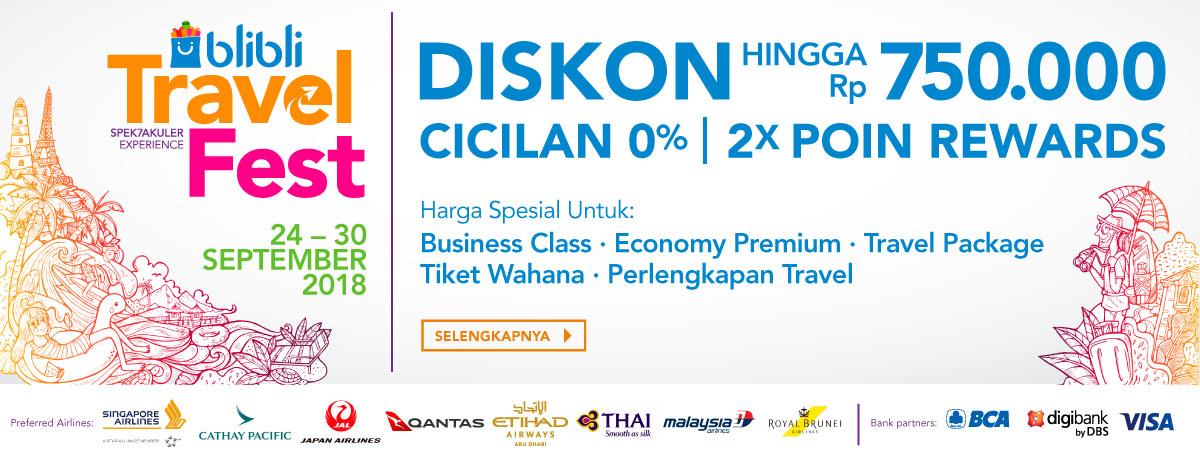 Blibli - Promo Travel Festival Spektakuler + Diskon Cicilan 0% (s.d 30 Sept 2018)