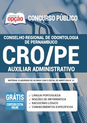 Apostila Concurso CRO PE 2020 PDF Edital Online Inscrições Auxiliar Administrativo