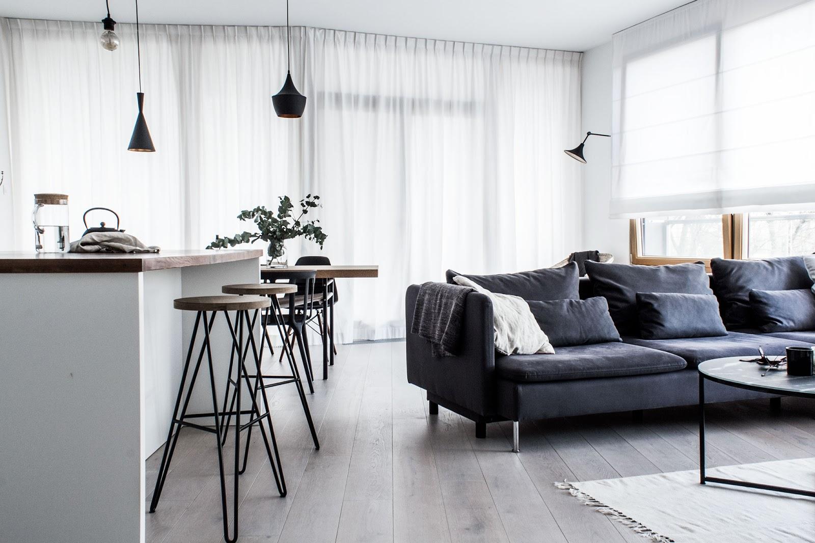 wire bar stools, tom dixon lamps, white scandinavian interior