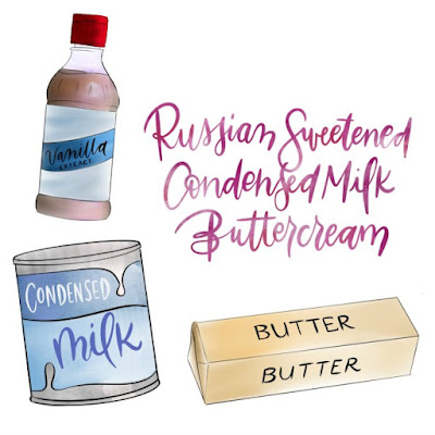 illustration of Russian buttercream ingredients