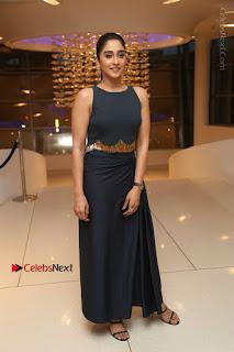 Actress Regina Candra Stills in Beautiful Blue Long Dress at Nagaram Success Meet  0186.JPG