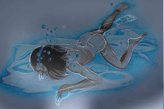 Esquisse, nageur, sous l'eau, piscine, position, dessin, étude, dessin de nu