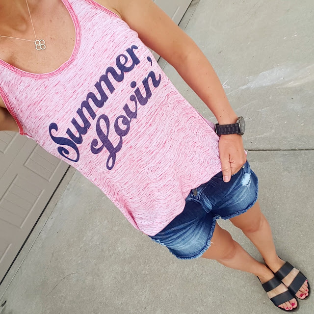 Easy Livin Summer Lovin' Tee - made in USA! c/o // Kancun Cut Off Shorts (similar) // Blowfish Supa Sandals - on sale for $30 (reg $50)! alternate link // Target Men's Watch (similar - on sale for $15)
