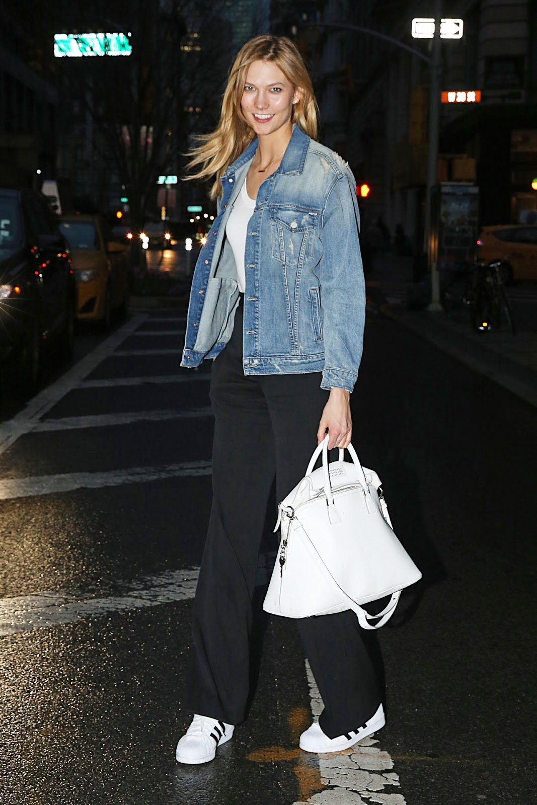 Karlie Kloss Wears a Denim Jacket in NYC
