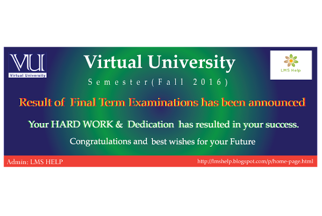 Fall 2016 semester result has been announced and published.