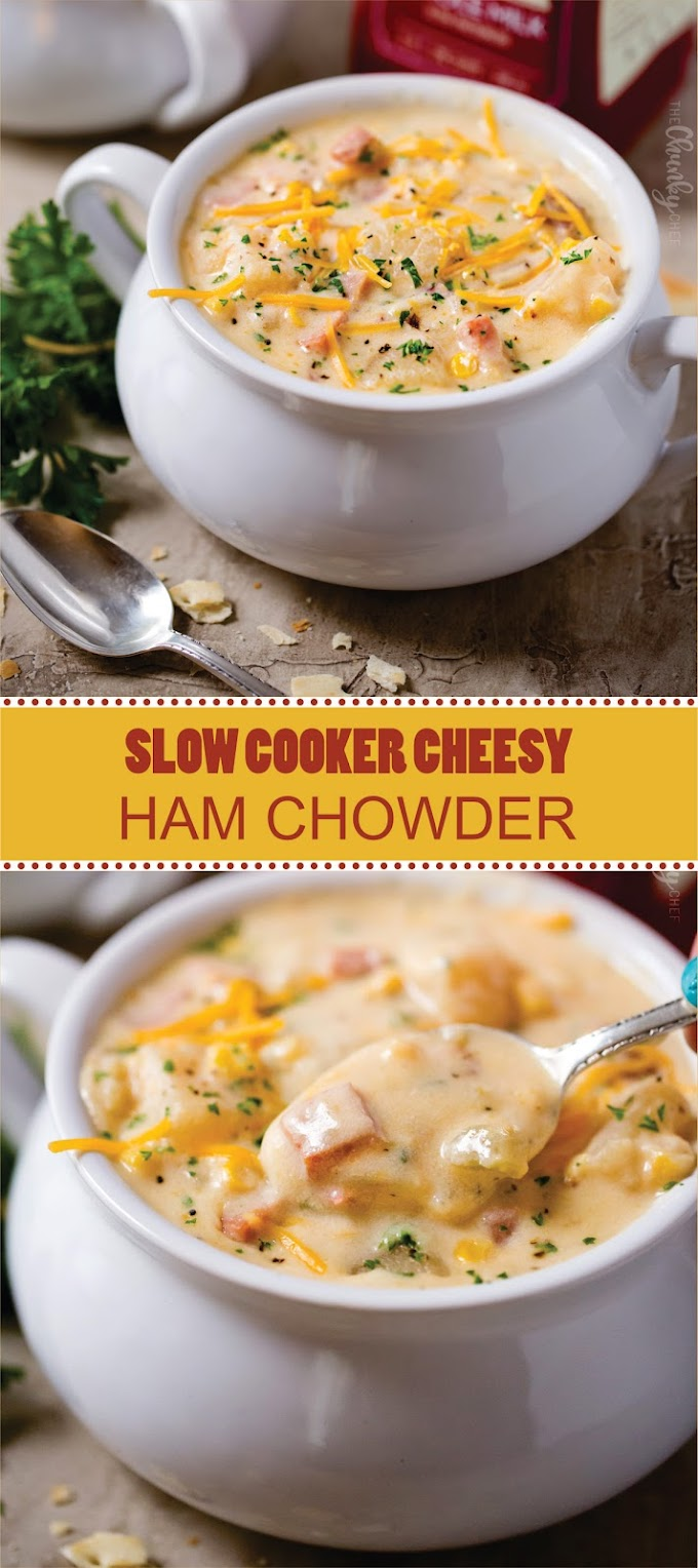SLOW COOKER CHEESY HAM CHOWDER