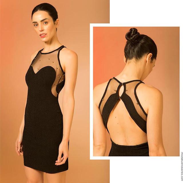 Vestidos negros con transparencias moda primavera verano 2019.
