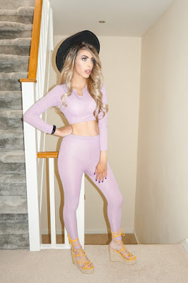 The Femme Luxe Lilac Ribbed Cropped Skinny Leg Loungewear Set in model Mila.