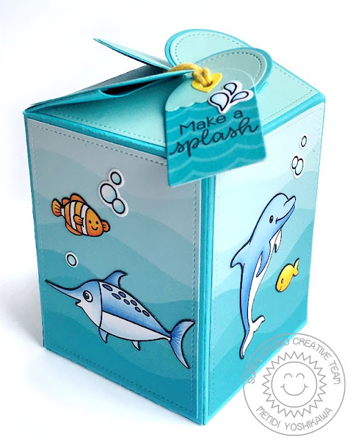 Sunny Studio Stamps: Best Fishes Dolphin & Swordfish Gift Box & Tag (using Wrap Around Box Die)