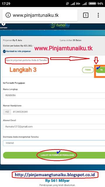 C.Gambar langkah 3 pengajuan pinjaman uang tanpajaminan via link web promo tunaiku www.Pinjamtunaiku.tk