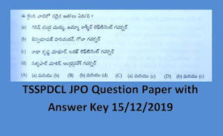 TSSPDCL JPO Question Paper 15/12/2019 with Answer Key – Eenad Sakshi Education
