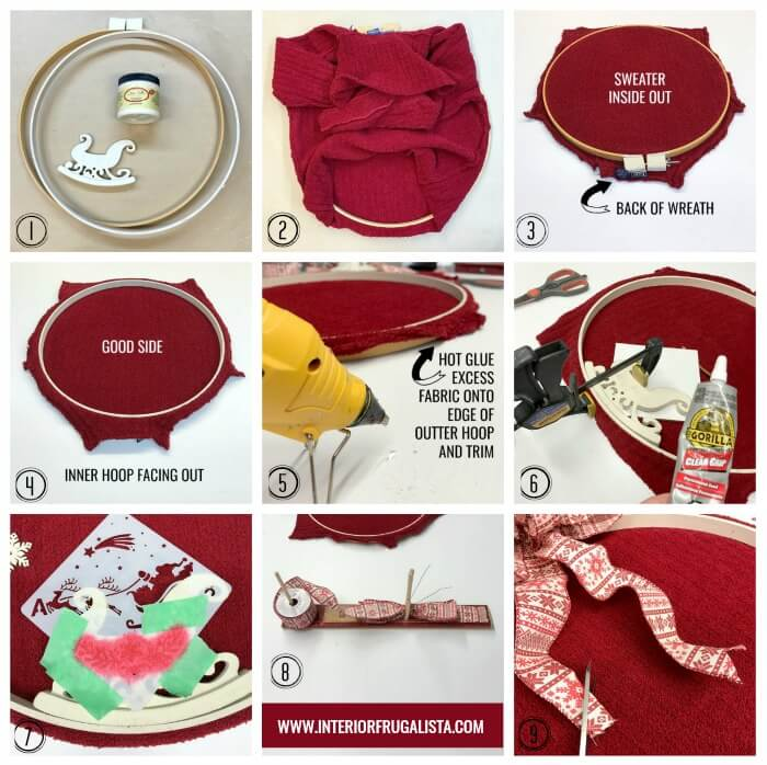Upcycled Embroidery Hoop Sweater Wreath Steps