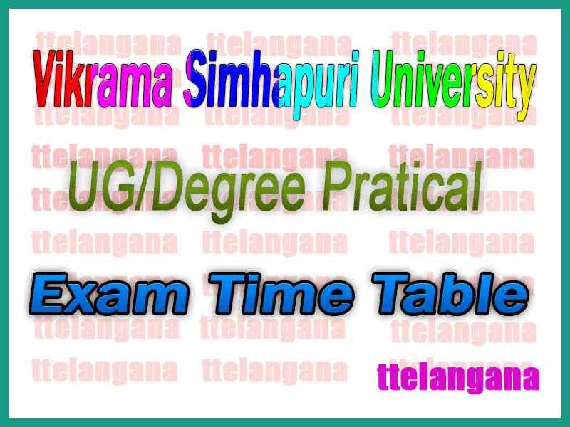 Vikrama Simhapuri University VSU Degree Practical Exam Time Table