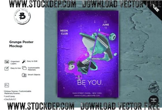 Grunge Poster Mockup Download free