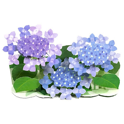 Hydrangea Blossoms Bouquet Decorative 3D Pop Up Greeting Card