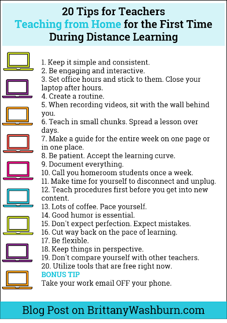 I have been blown away by the advice being shared by teachers who are already figuring out how to do distance learning. A lot of the same advice is given over and over so I've compiled it into one concise list.