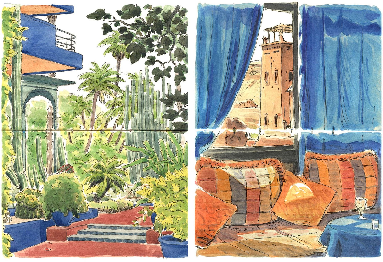 watercolor sketches in Morocco