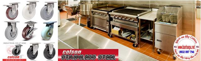 Bánh xe đẩy càng inox 304 Nylon 6 xoay phi 125 Colson | 2-5456-254