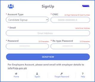 njp.gov.pk - NJP National Job Portal - NJP Signup - NJP Login - NJP CV Manager - NJP Job Application