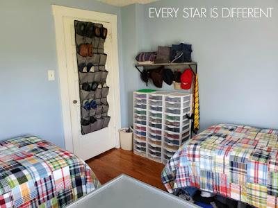 A Minimalist Montessori Shared Bedroom for Teens and Preteens: LEGO Storage