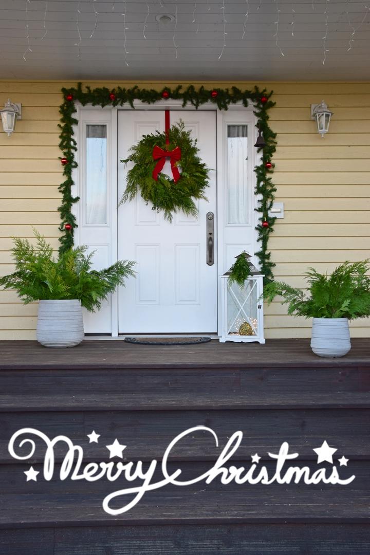 Weihnachtsdeko DIY Kranz Thuja und Buchs selber machen für Haustür und Eingangsbereich, Christmas Wreath, Deko Dekoration, Tür Fenster weihnachtlich Eingang