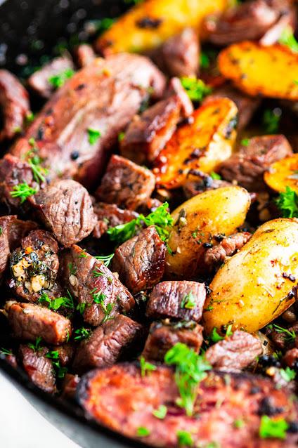 Skillet garlic butter steak and potatoes