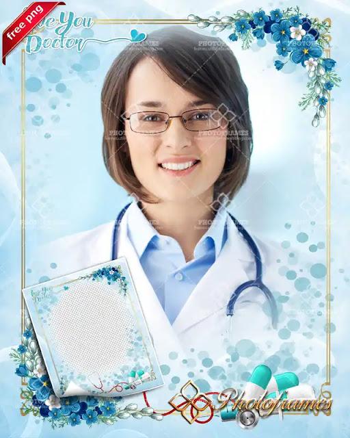 Marco para fotos del dia del medico, enfermera, ginecólogo, pediatra, internista, doctora