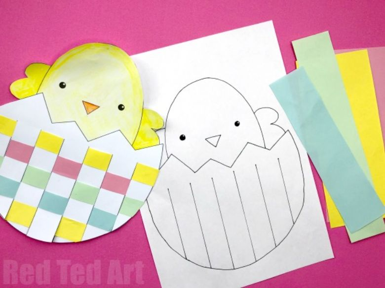 Easter crafts for preschoolers - Paper weaving spring chick craft