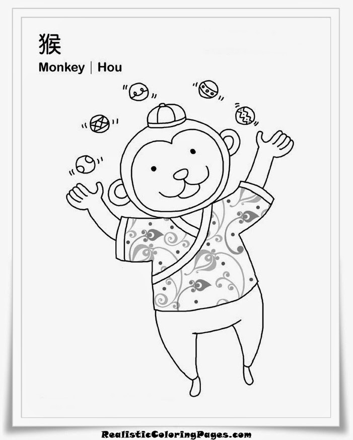 vietnamese zodiac coloring sheet monkey