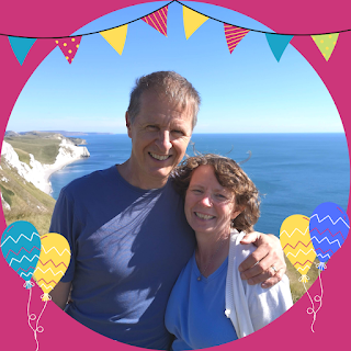 Me (Rachel Knowles) with my husband Andrew at White Nothe, Dorset (2021)