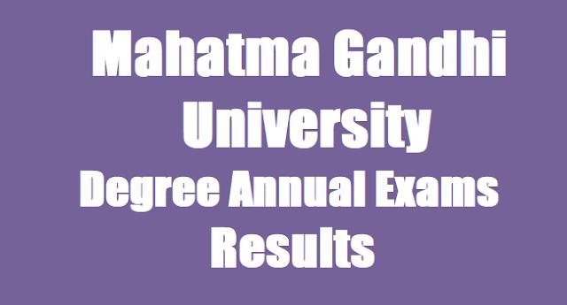Mahatma Gandhi University,Degree Results, BSc BCom BA Exams Results