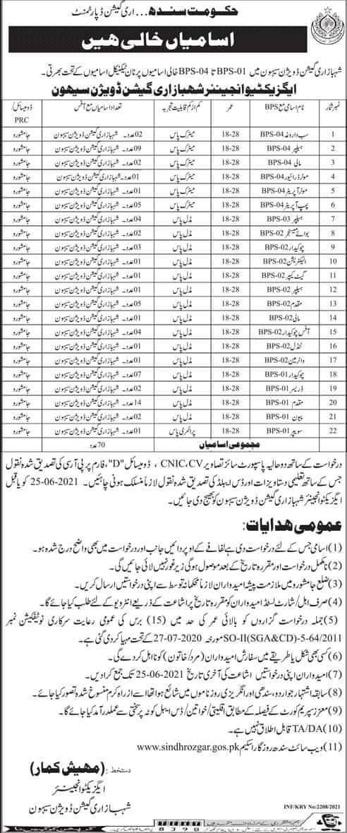 Irrigation Department Government of Sindh Sehwan Jobs 2021  Multiple Vacancies