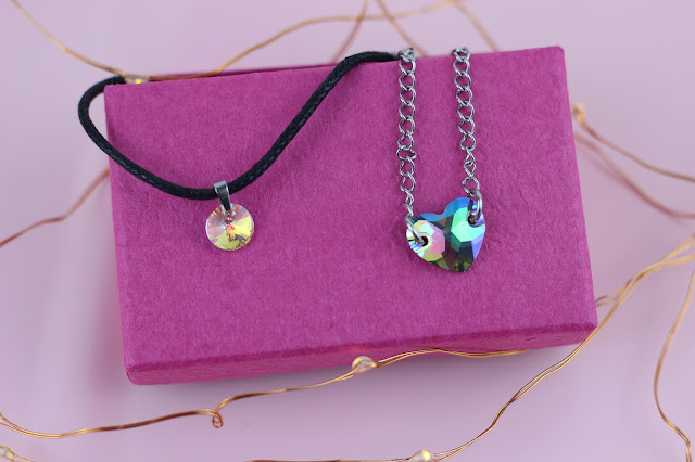 unicorn born small crystal cord choker and blue crystal heart chain choker