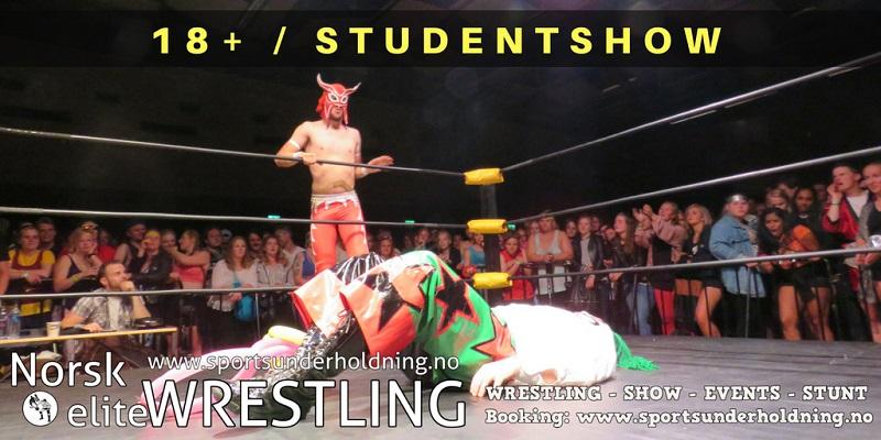 Underholdning for studentsamfunn og konsertscener, studentshow og voksenshow. Artister, artistbooking, booking. Norsk wrestling. Foto.