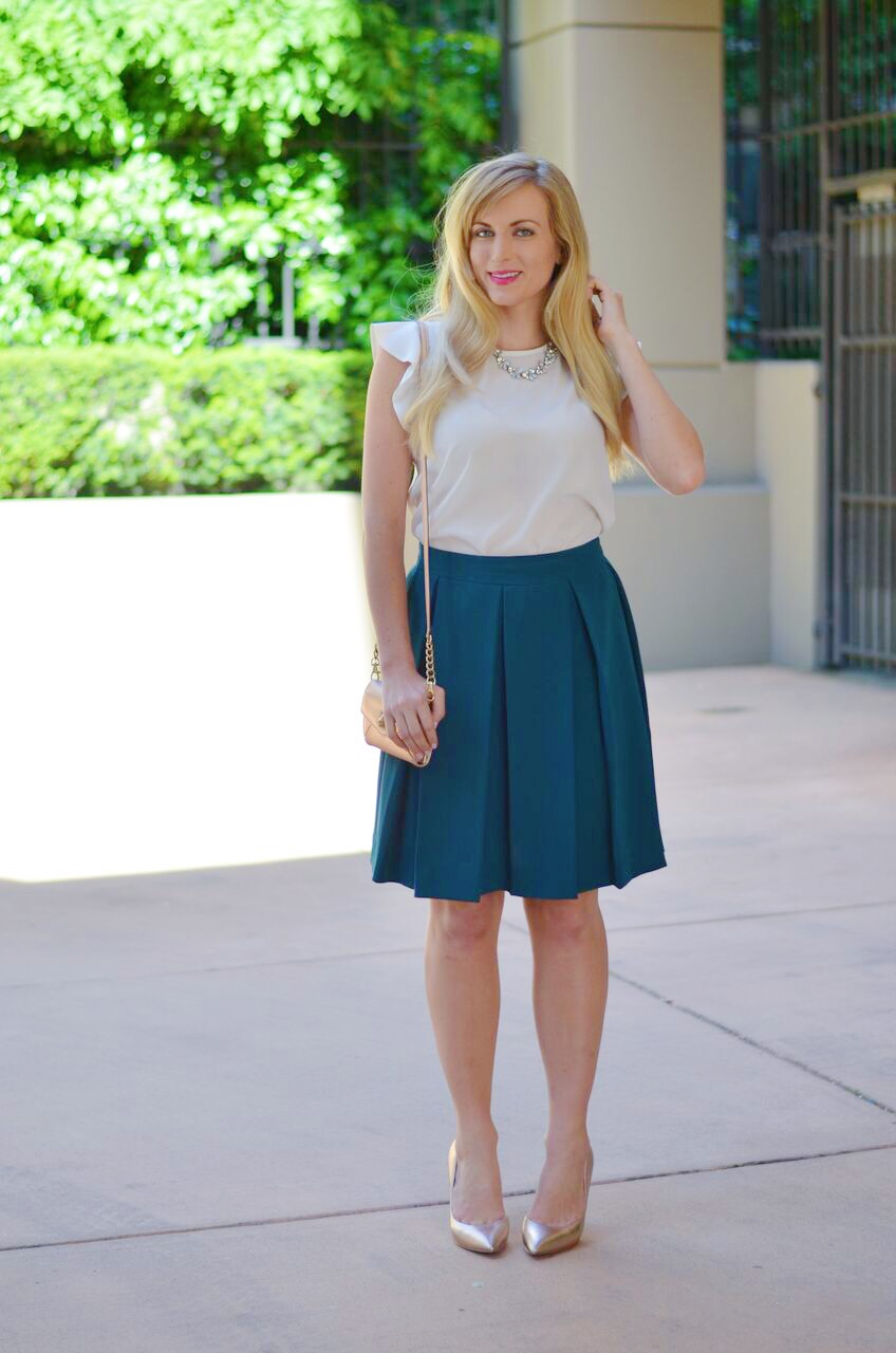 office day outfit idea with a pleated skirt