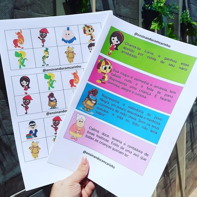 Bingo dos Personagens do Sítio do Pica pau Amarelo para o dia do livro infantil