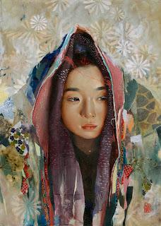 ilustração de uma moça com traços asiáticos e um trabalho com estampas e texturas.