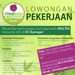 Info Lowongan Kerja Pramuniaga Healtea Jakarta