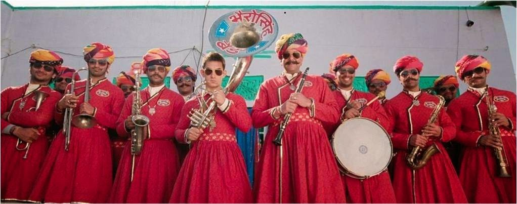 Band Baja team of Aamir Khan and Sanjay Dutt in Rajasthani look and outfits in Bollywood movie PK