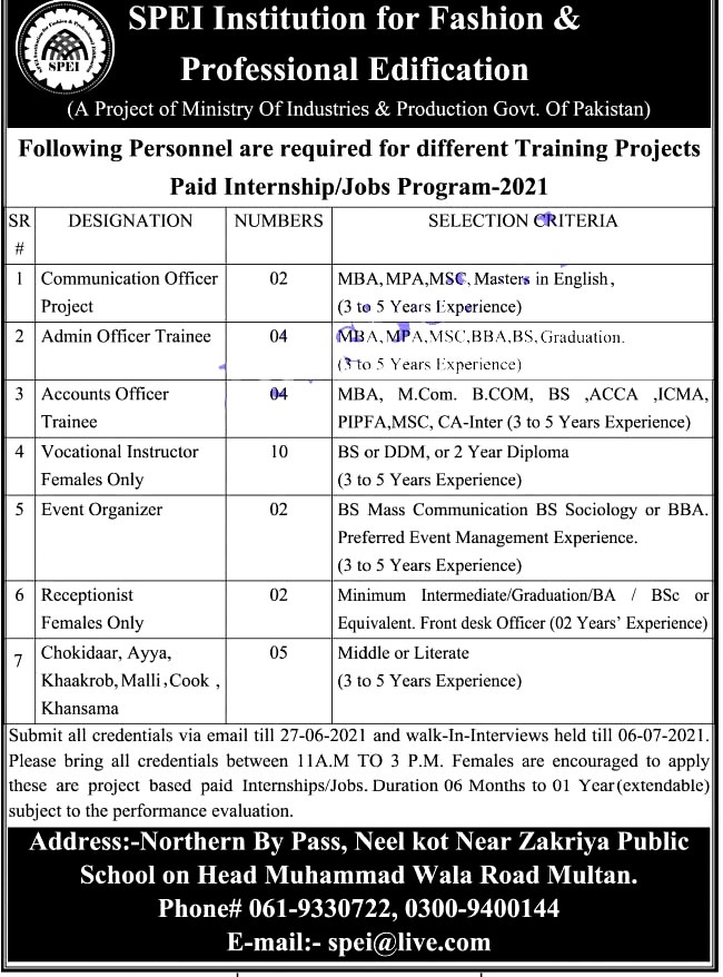 New Jobs in Ministry of Industries And Production Pakistan 2021