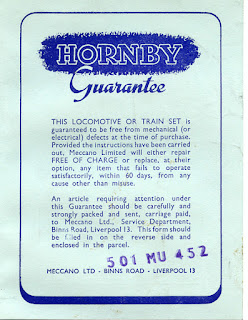 Hornby train set guarantee