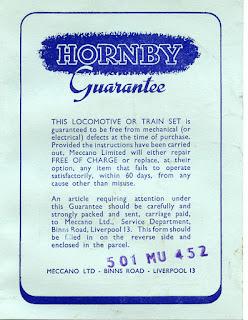 Hornby train set guarantee