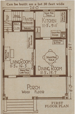 Sears Langston or Gladstone first floor plan
