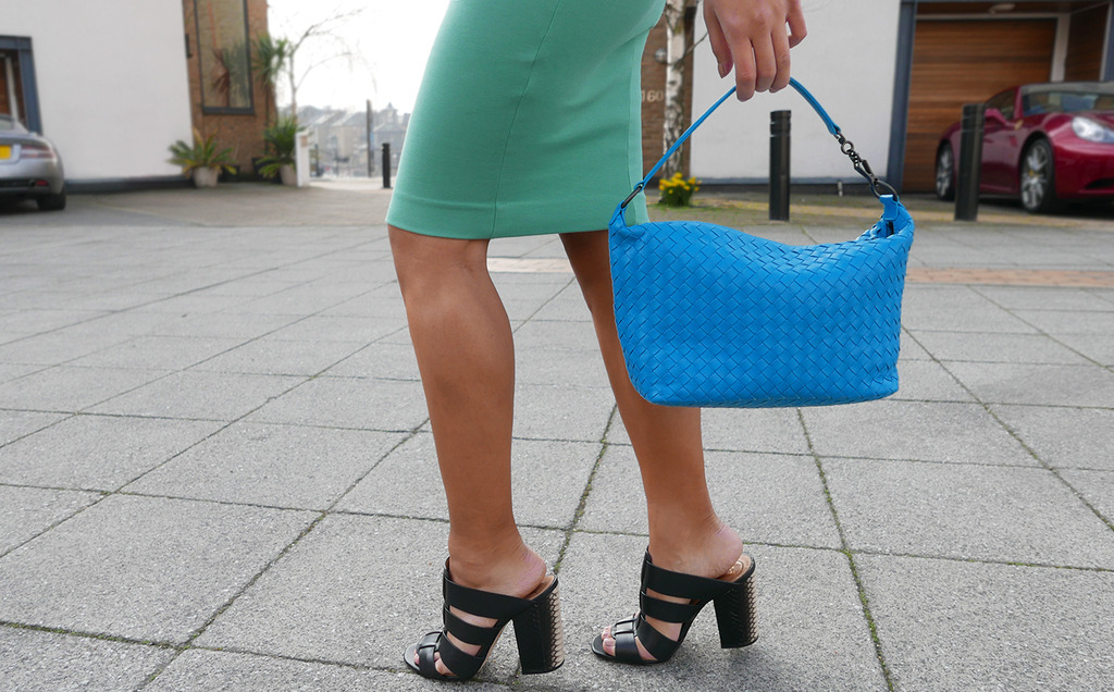 Euriental | fashion & luxury travel | Dsquared2 pale green dress, Bottega Venetta blue bag, Vince Camuto mules