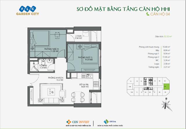 Thiết kế căn hộ 04, 52m, HH1 FLC Garden City