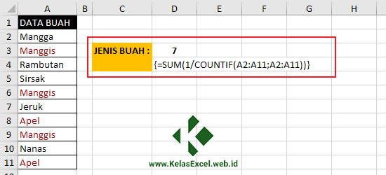 Menghitung Data Unik Dengan Fungsi SUM dan COUNTIF