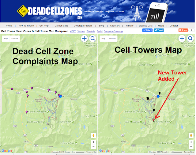 cell phone tower map