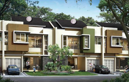 tampak depan rumah minimalis ukuran 9x17 meter 4 kamar tidur 2 lantai