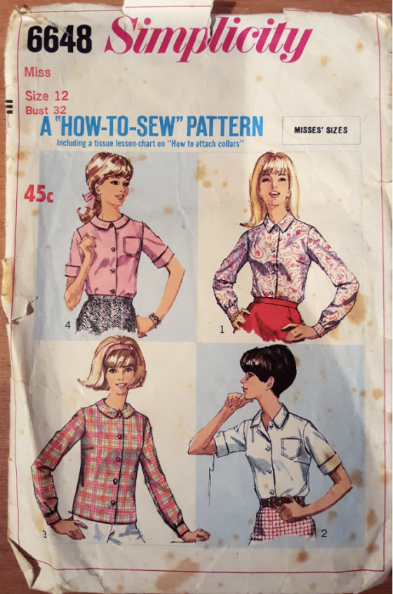 photograph of an old sewing pattern cover showing four different styles of shirts